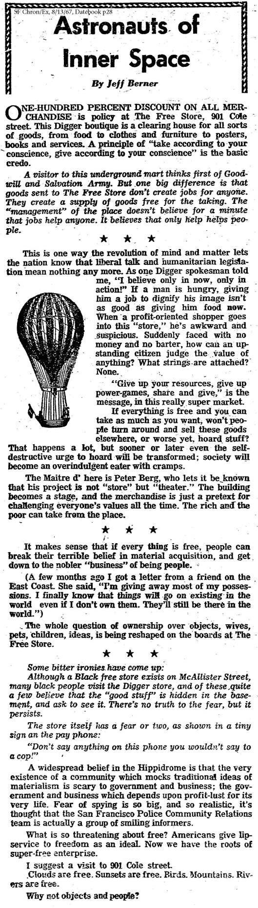 sfchron exam sunday -- berner on free store aug 13 1967 datebook p 28